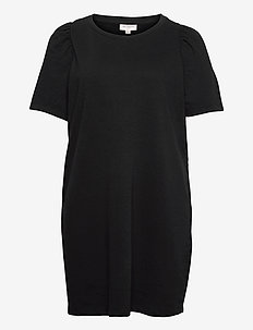 CARDINA LIFE S/S O-NECK DRESS SWT - t-shirt dresses - black