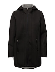 onpKYA HOOD LONG JACKET - BLACK