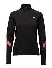 onpSHANI RUN BRUSHED LS HALF ZIP - BLACK