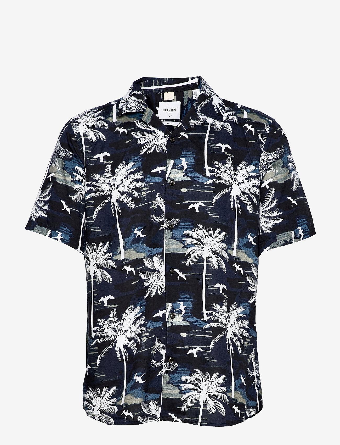 ONLY & SONS - ONSPALM LIFE SS VISCOSE AOP REG SHIRT - geruite overhemden - dress blues - 0