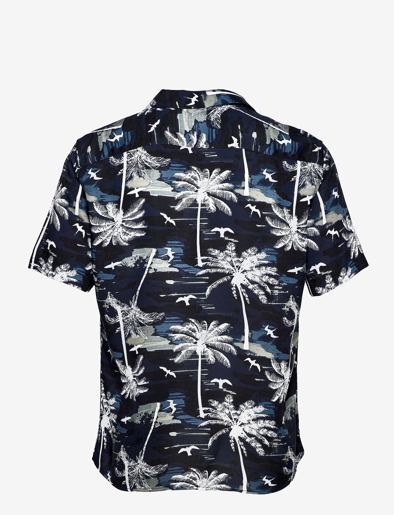 ONLY & SONS - ONSPALM LIFE SS VISCOSE AOP REG SHIRT - geruite overhemden - dress blues - 1