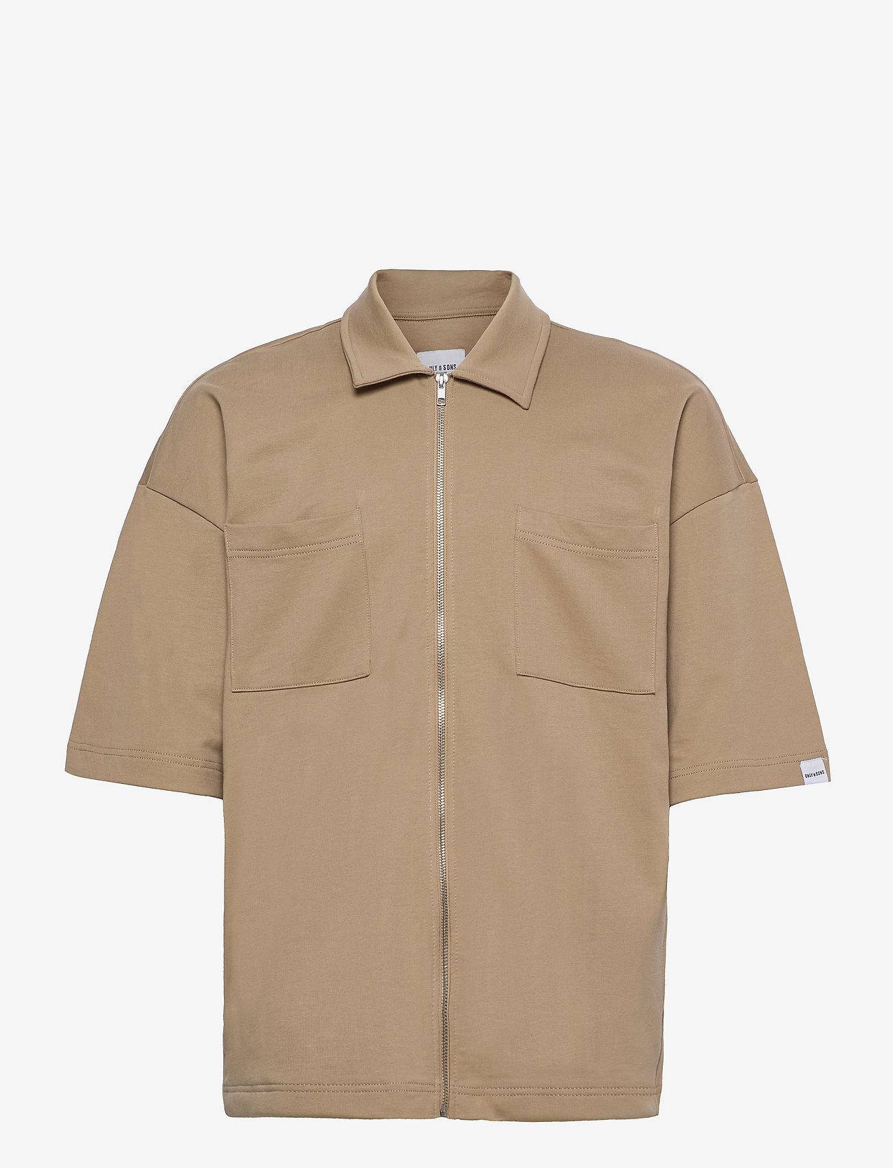 ONLY & SONS - ONSLEE  OVZ UTILITY ZIP SS SWEAT - koszule lniane - chinchilla - 0
