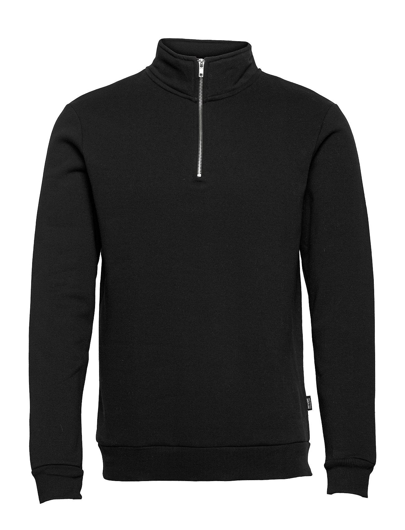 Onsceres Life Half Zip Sweat Sweatshirt Trøje Sort ONLY & SONS