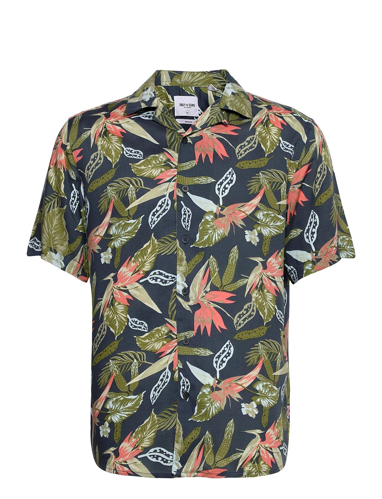 Onsklopp Life Ss Aop Viscose Shirt Kortærmet Skjorte Blå ONLY & SONS