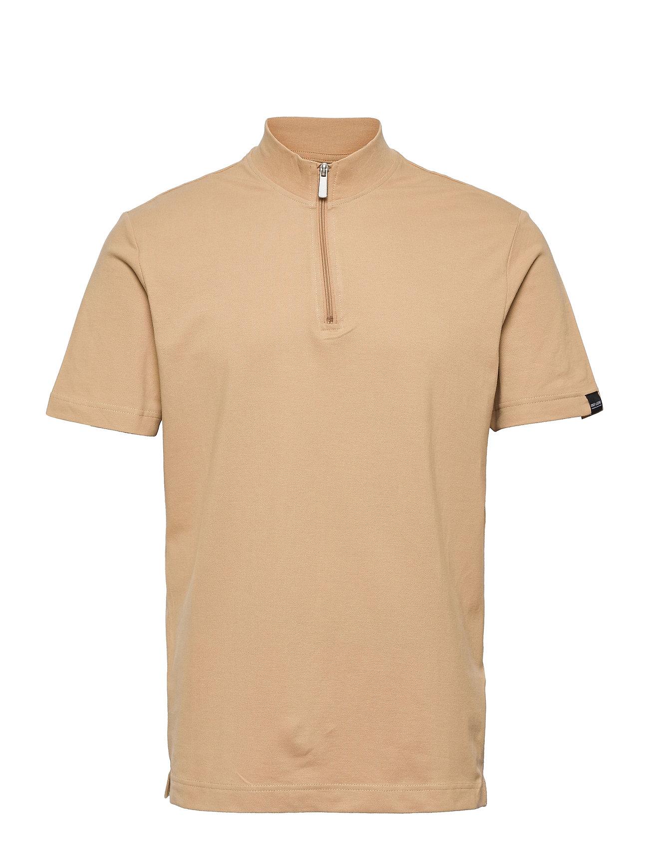 Onsvirl Life Reg 1/4 Zip Mock Neck Tee Polos Short-sleeved Beige ONLY & SONS