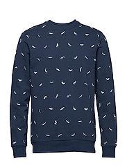 onsALFRED MOUSTACHE AOP CREW NECK SWEAT - DRESS BLUES