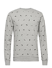 onsALFRED MOUSTACHE AOP CREW NECK SWEAT - MEDIUM GREY MELANGE
