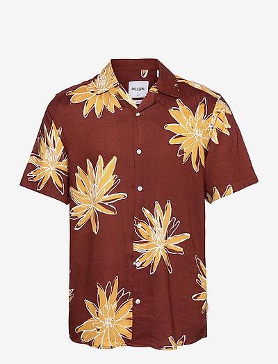 ONSKAJ LIFE SS VISCOSE AOP SHIRT - chemises à carreaux - cherry mahogany