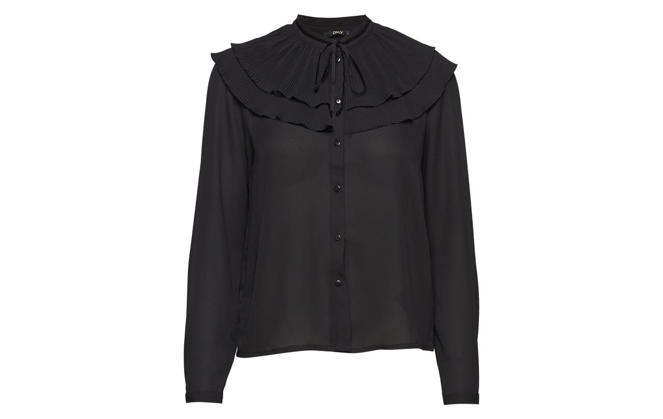 Polyester Only Black Onlrina Wvn Ls Plisse 100 Shirt Sw0Srq4