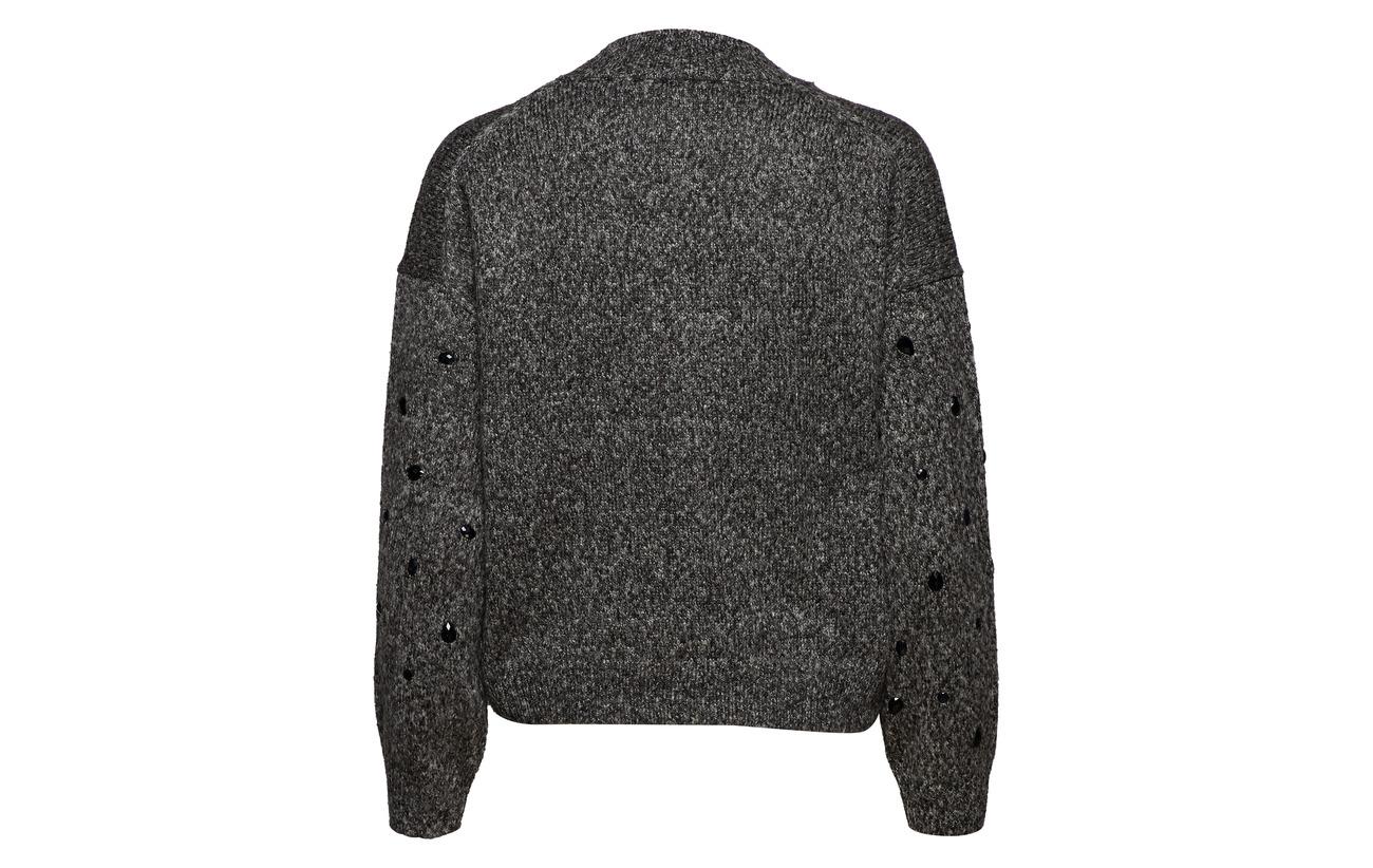 Grey Acrylique Only Onlmadeline Dark Knt 60 Pullover s L Polyester Melange Highneck 40 wS6wp7
