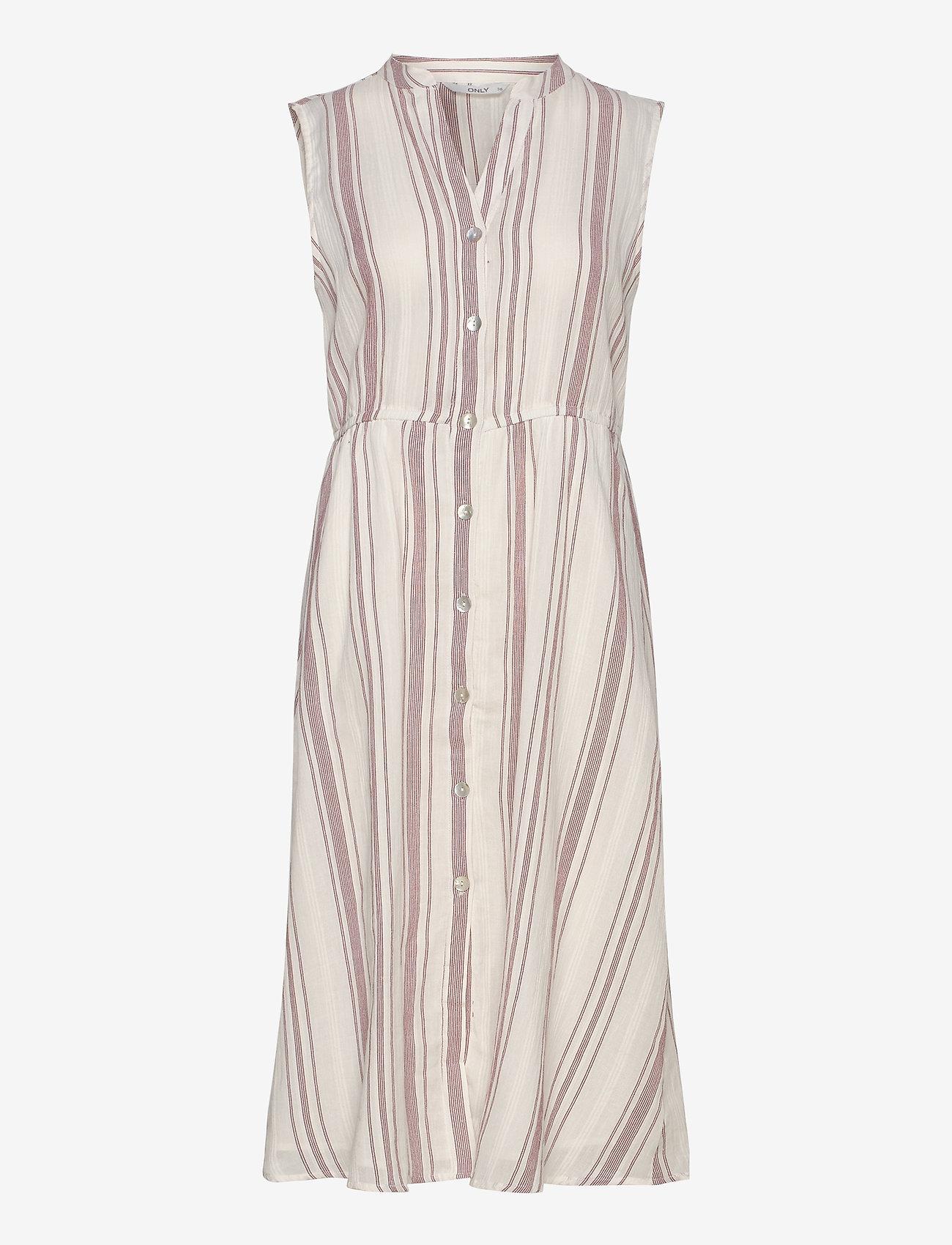 ONLY - ONLDORRIE S/L ABOVE CALF DRESS WVN - midi dresses - cloud dancer