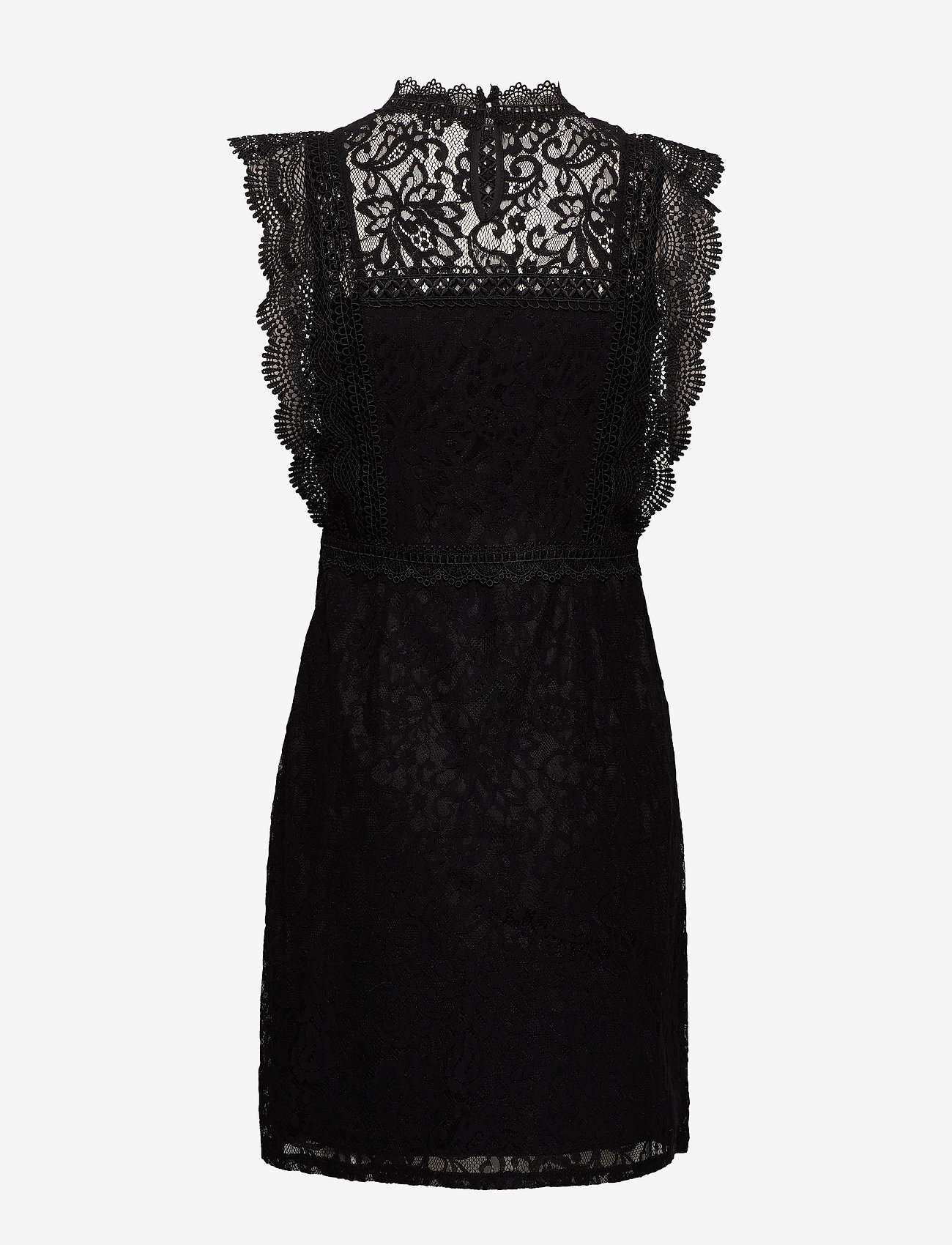 ONLY - ONLKARO S/L LACE ABOVE KNEE DRESS WVN - short dresses - black