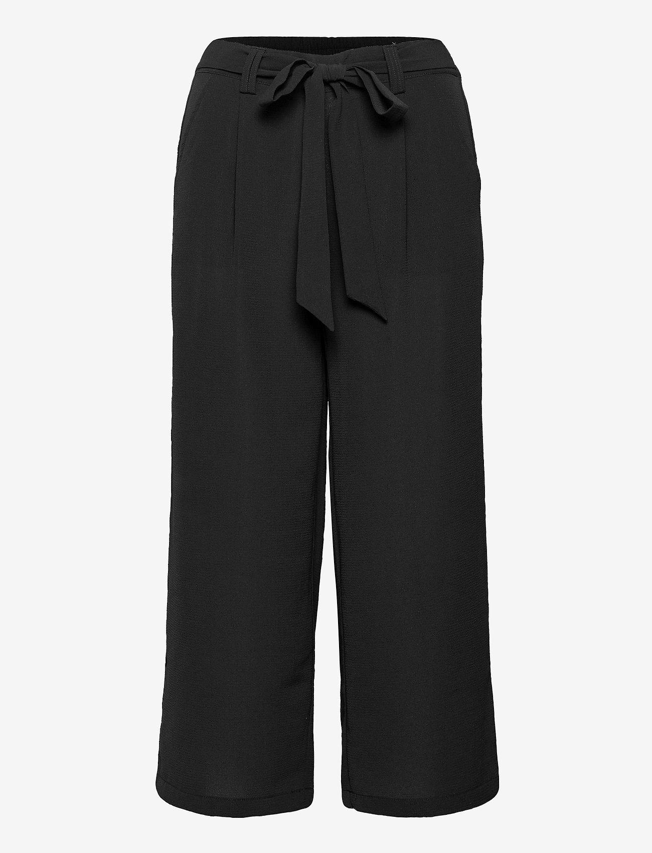 ONLY - ONLNOVA LUX CROP PALAZZO PANT SOL. WVN 3 - bukser med brede ben - black - 0