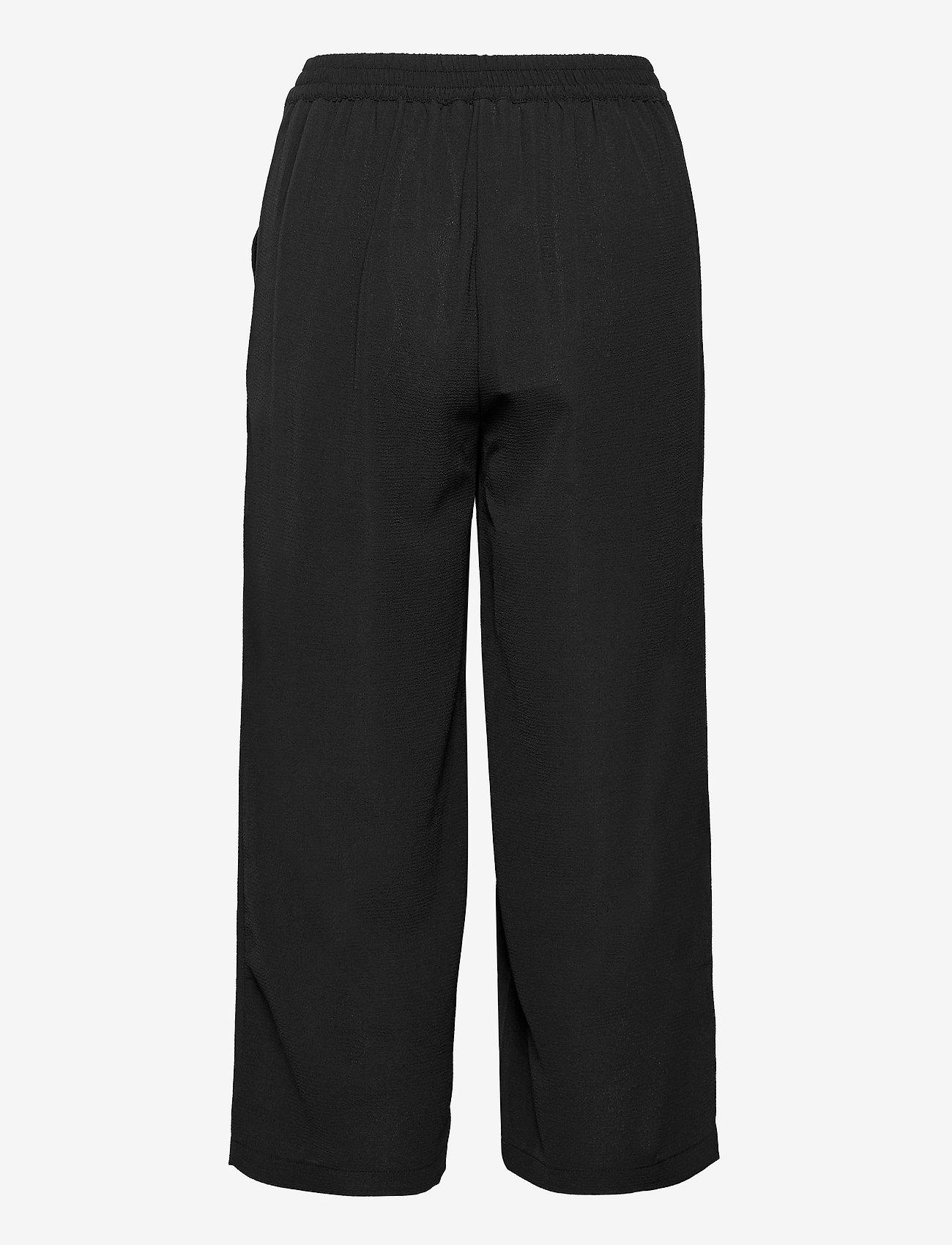 ONLY - ONLNOVA LUX CROP PALAZZO PANT SOL. WVN 3 - bukser med brede ben - black - 1