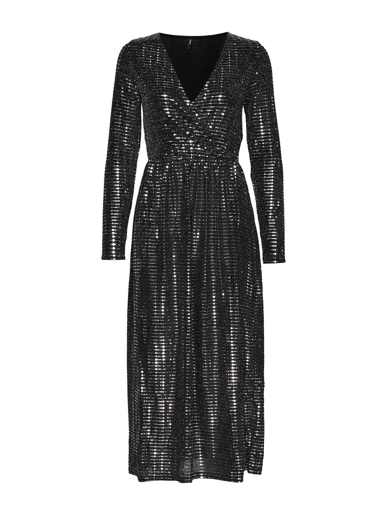 ONLY ONLREBECCA L/S GLITTER MAXI DRESS JRS - BLACK