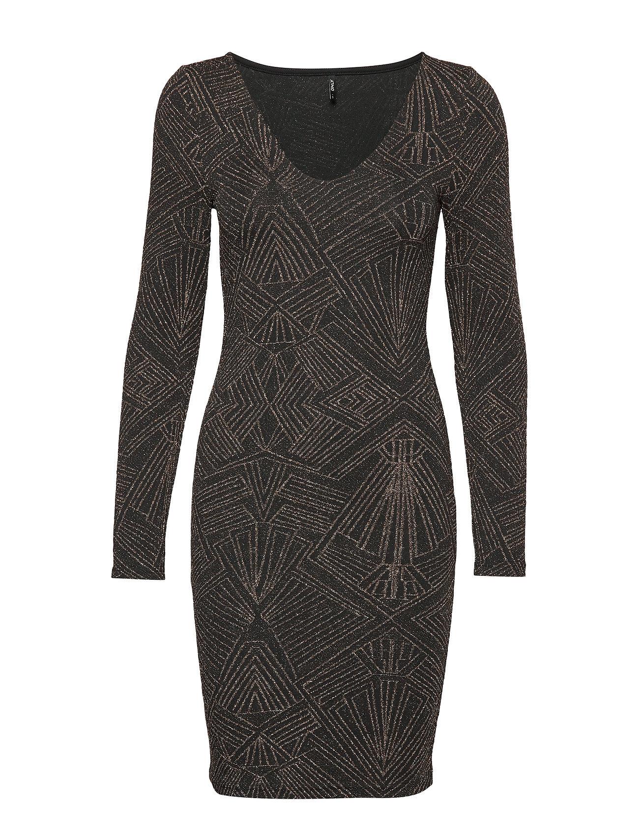 ONLY ONLSHINE L/S V-NECK BODYCON DRESS JRS - BLACK