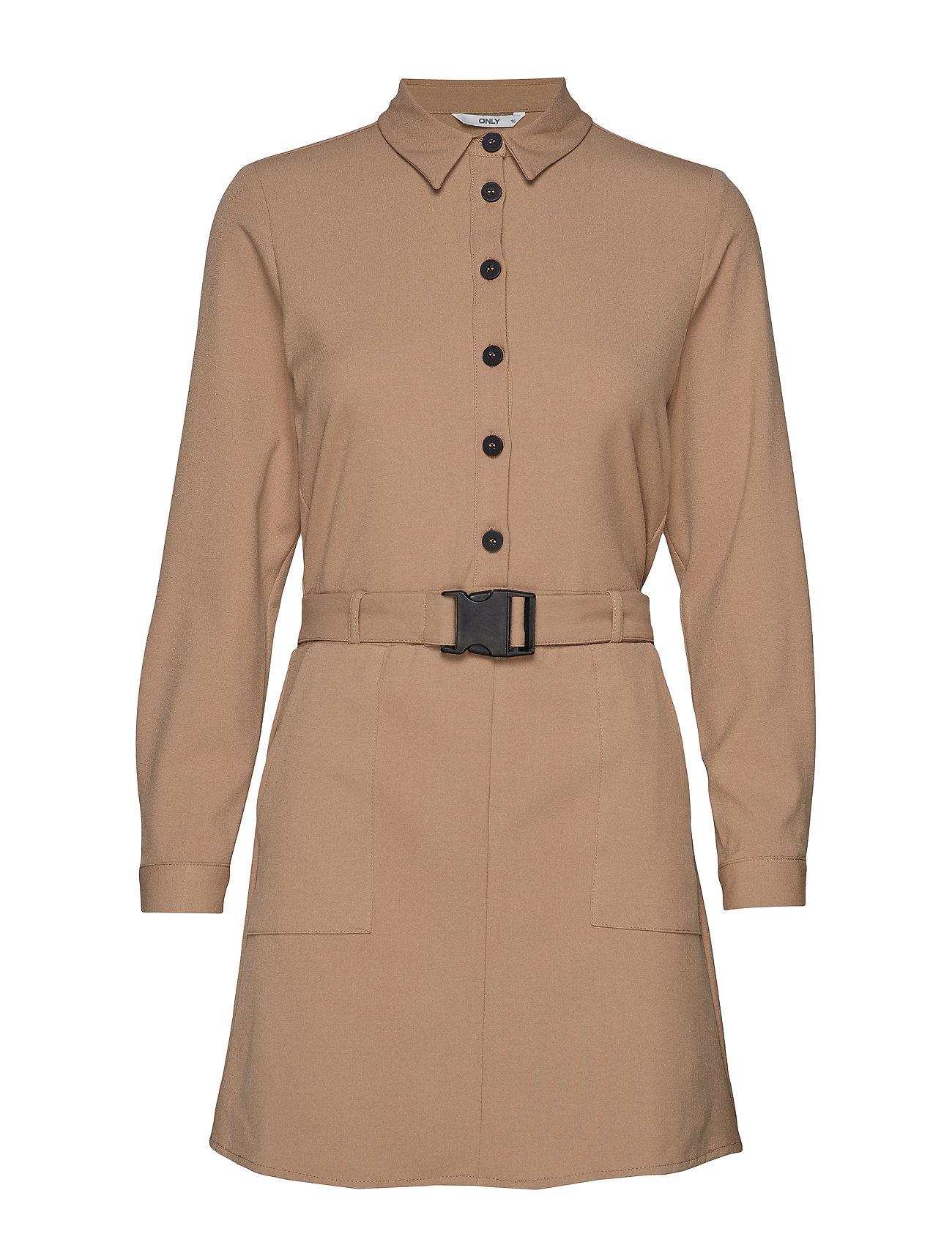 ONLY ONLLOTUS L/S SHORT DRESS WVN - BEIGE