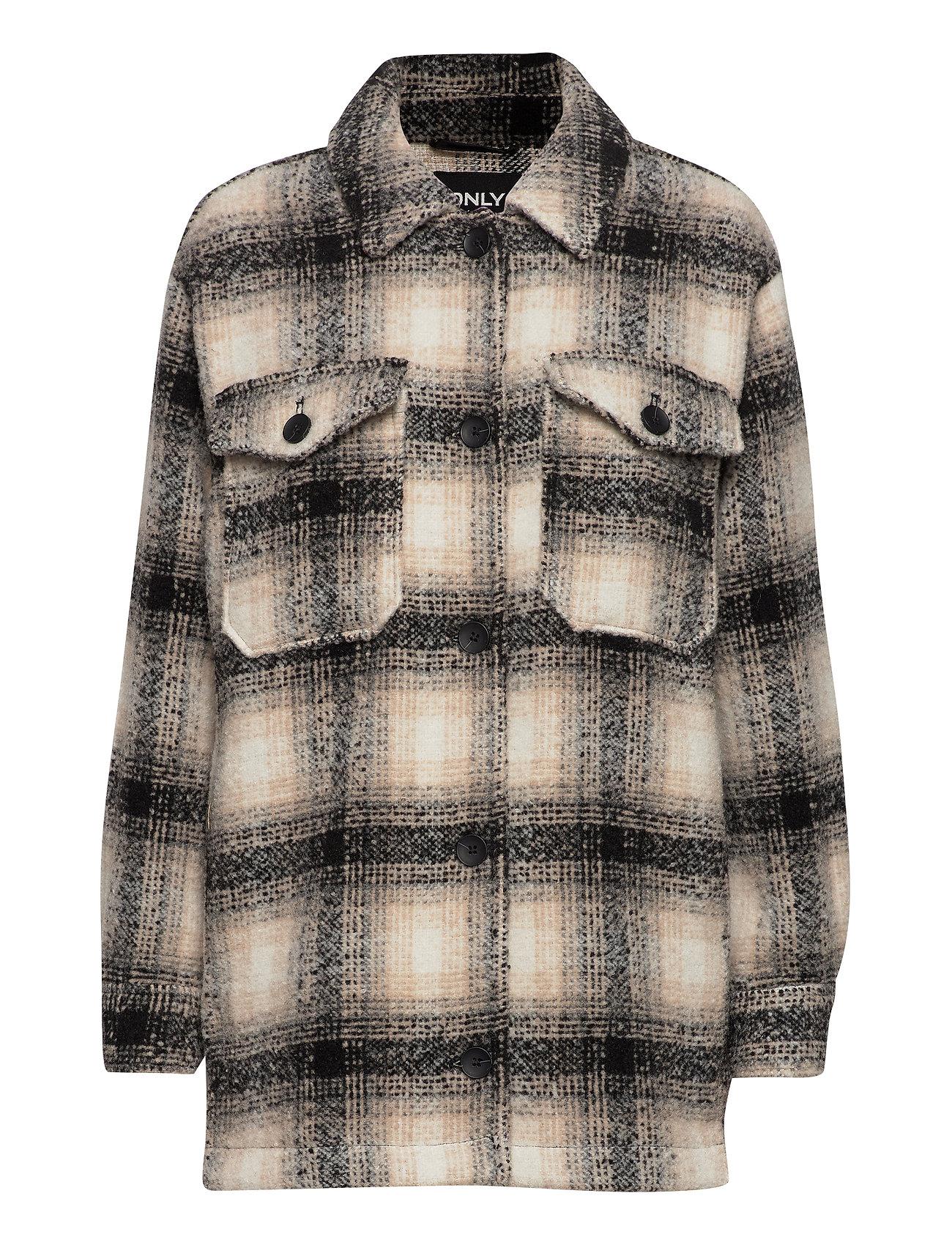 Onlallison Check Wool Shacket Cc Otw Uldjakke Jakke Grå ONLY