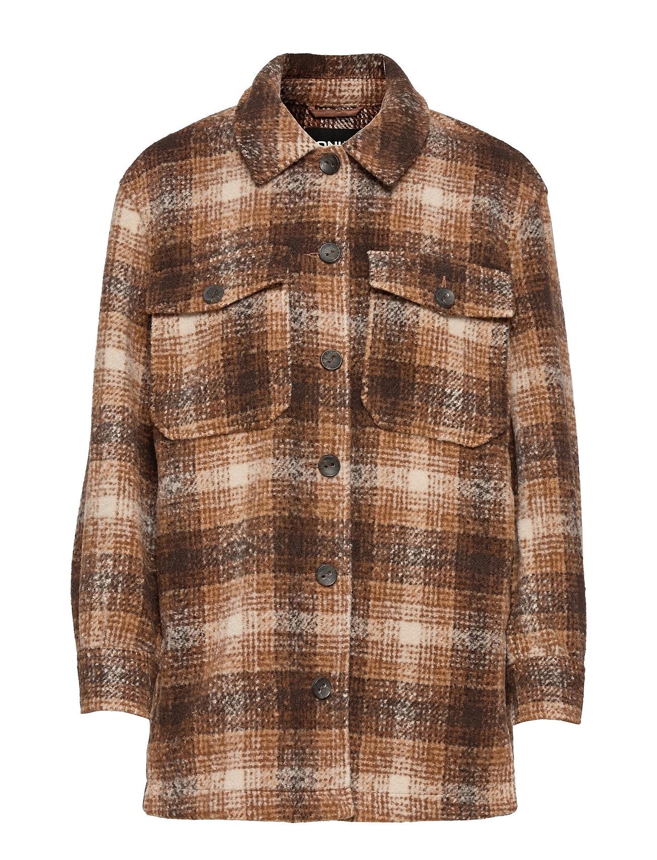 Onlallison Check Wool Shacket Cc Otw Uldjakke Jakke Brun ONLY