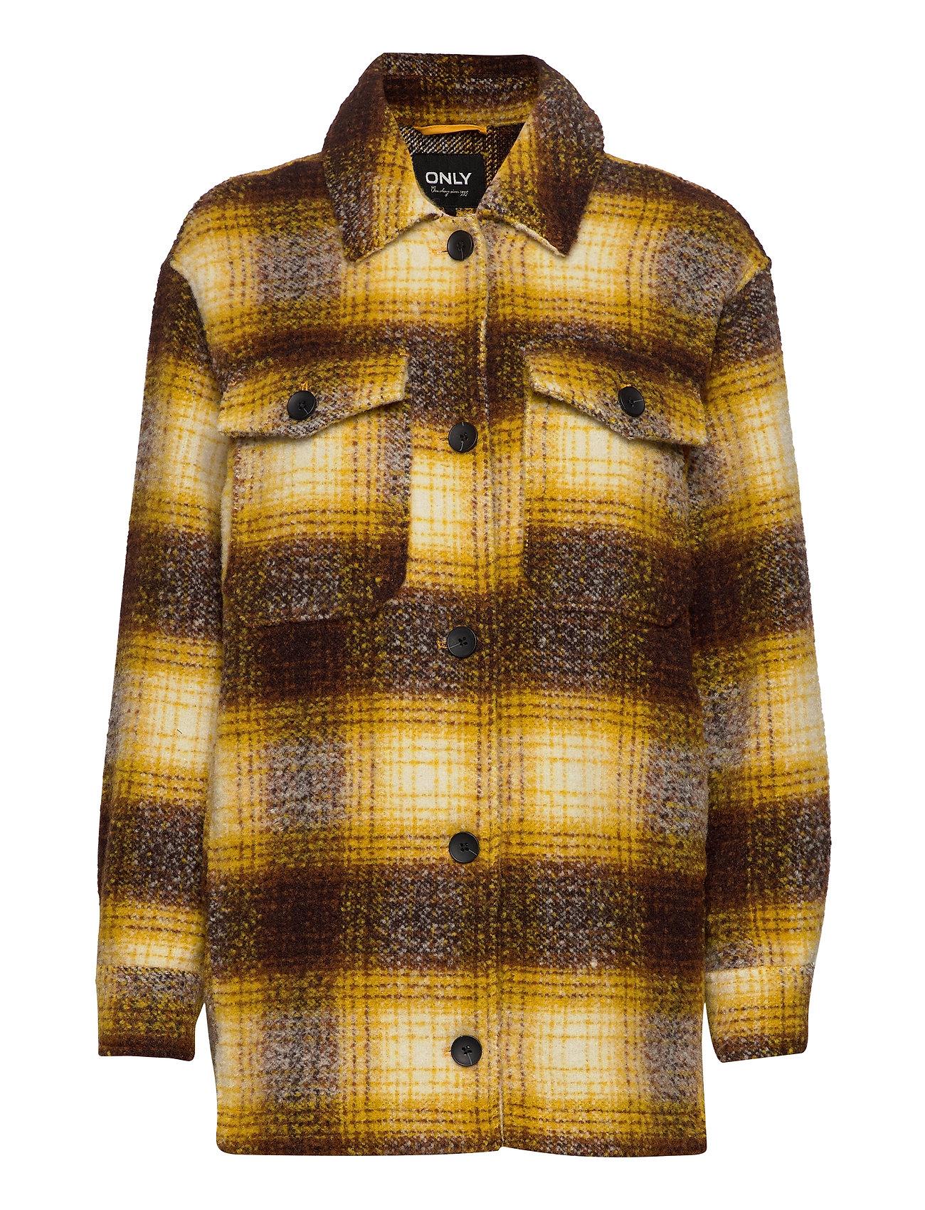 Onlallison Check Wool Shacket Cc Otw Uldjakke Jakke Gul ONLY