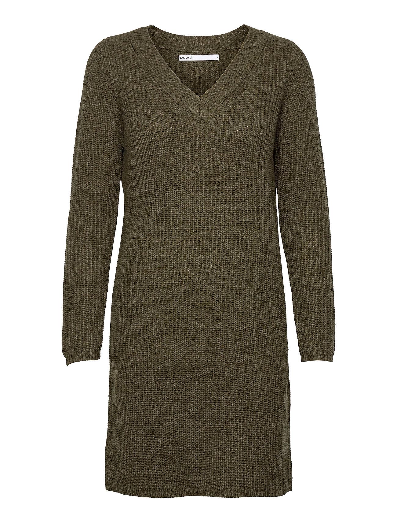 Onlmelton Life L/S Dress Knt Knælang Kjole Grøn ONLY