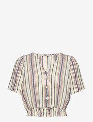 ONLY - ONLALFINA S/S CROPPED TOP WVN - short-sleeved blouses - cloud dancer - 0