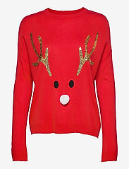 ONLY - ONLXMAS REINDEER L/S PULLOVER KNT - gensere - high risk red - 0