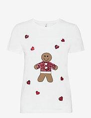 ONLY - ONLYRSA CHRISTMAS REG S/S TOP JRS - t-shirts - bright white - 0