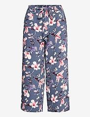 ONLY - ONLNOVA LUX CROP PALAZZO PANT AOP WVN 3 - bukser med brede ben - vintage indigo - 0