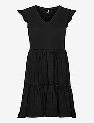 ONLY - ONLMAY LIFE CAP SLEEVES FRILL DRESS JRS - sommerkjoler - black - 0