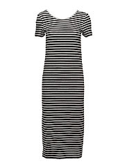 onlABBIE STRIPE SS CALF DRESS NOOS - BLACK