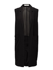 stuSIA SL LONG LIGHT WAISTCOAT - BLACK