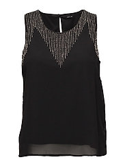 onlKAJA S/L BEAD TOP WVN - BLACK