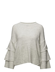 onlFLOWER L/S RUFFLE PULLOVER KNT - LIGHT GREY MELANGE