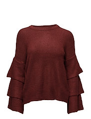 onlFLOWER L/S RUFFLE PULLOVER KNT - SUN-DRIED TOMATO