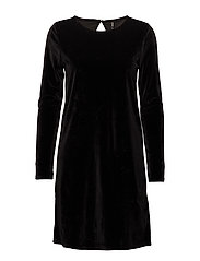 onlVERY VELVET O-NECK LS DRESS JRS - BLACK