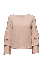 onlCAROLINA 7/8 RUFFLE PULLOVER KNT - CAMEO ROSE