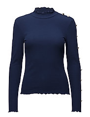 onlROXANA L/S BUTTON TOP ESS - BLUE DEPTHS