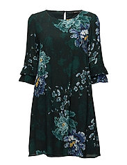 onlMARLY 3/4 BELLSLEEV FRILL DRESS WVN - SCARAB