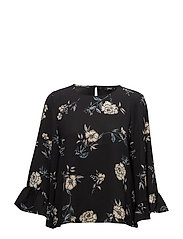 onlMESA LUX AOP WIDE SLEEVE TOP WVN - BLACK