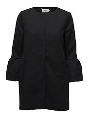 onlSIA FRILL LIGHT MELANGE COAT CC OTW - BLACK
