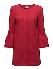 onlSIA FRILL LIGHT MELANGE COAT CC OTW - JESTER RED