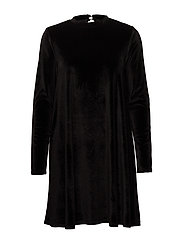 onlODETTE L/S VELOUR DRESS JRS - BLACK