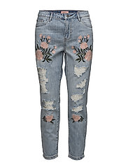 onlTONNI BF EMB DNM JEANS GUABJ11294 - LIGHT BLUE DENIM