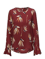 onlOLANA L/S FLAIRED TOP WVN - SYRAH