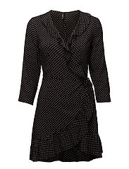 onlLAURA 7/8 AOP WRAP DRESS WVN - BLACK