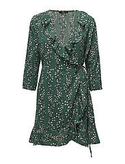 onlDITTE 3/4 WRAP DRESS WVN - POSY GREEN