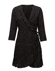 onlEMMA 3/4 WRAP DRESS WVN - BLACK