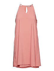 onlLISA S/L PEEP DRESS WVN - SUNKIST CORAL
