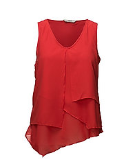 onlSCARLET S/L LAYRED TOP WVN - HIGH RISK RED